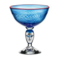 Kosta Boda Red Rim Brains Footed Bowl in Blue