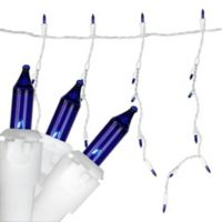Northlight 10-Foot 150-Light Mini Icicle Christmas Lights with Alternating Drop Lengths in Blue