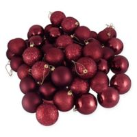Northlight 60-Pack 2-1/2-Inch Christmas Ball Ornaments in Burgundy