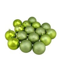 Northlight 3.25-Inch Shatterproof Multi-Finish Christmas Ball Ornaments in Green Kiwi (Set of 16)