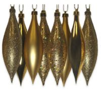 Northlight 5.5-Inch Finial Drop Christmas Ornaments in Gold (Set of 8)