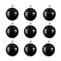 Northlight Jet Black Glass Ball Christmas Ornaments (Set of 9)