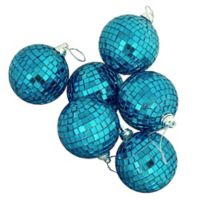Northlight Peacock Blue 3.25-Inch Glass Ball Christmas Ornaments (Set of 6)