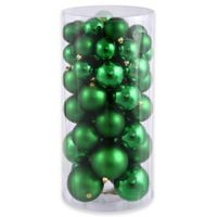 Northlight 50-Piece Shatterproof Christmas Ball Ornament Set in Xmas Green