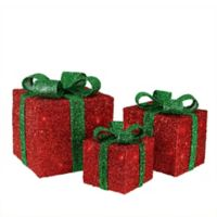 Northlight 3-Piece Lighted Sparkling Gift Boxes Christmas Yard Decoration in Red/Green