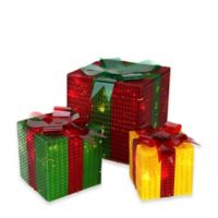 Northlight 3-Piece Lighted Prismatic Gift Boxes Christmas Yard Decoration