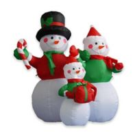 LB International Inflatables 48-Inch Snowman Family Christmas Yard Art Decoration