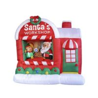 LB International 5-Foot Inflatable Lighted Santa Workshop