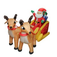 LB International 7-Foot Inflatable Lighted Santa Claus And Sleigh