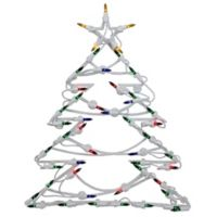 Northlight 18-Inch Lighted Tree Window Silhouette Christmas Decoration in Green