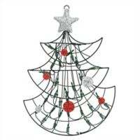 Northlight 19-Inch Lighted Tree Window Silhouette Christmas Decoration in Green