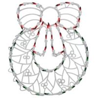 Northlight 18-Inch Lighted Wreath Window Silhouette Christmas Decoration in Green