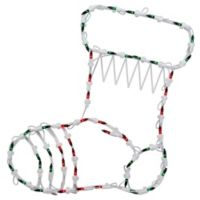 Northlight 18-Inch Lighted Stocking Window Silhouette Christmas Decoration in Red