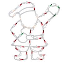 Northlight 13-Inch Lighted Santa Window Silhouette Christmas Decoration in Green