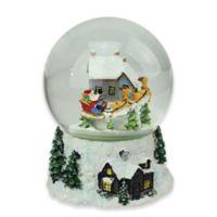 Northlight 6.75-Inch Santa and Reindeer Musical Snow Globe