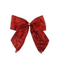 DYNO 6-Count Glittered Christmas Bow Decoration in Red