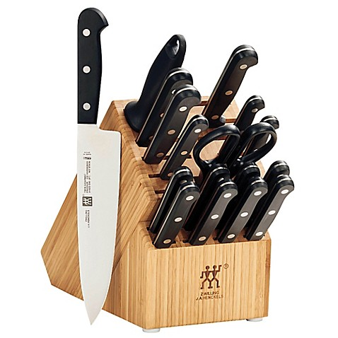 zwilling j a henckels twin gourmet 18 piece knife block set with 2 stage sharpener bed bath. Black Bedroom Furniture Sets. Home Design Ideas