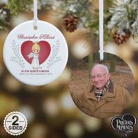 This Precious Moments® 2-Sided Glossy Photo Memorial Christmas Ornament