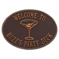Whitehall Products Martini Indoor/Outdoor Wall Plaque in Antique Copper