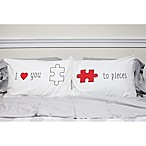 "Sleeposophy ""Love You to Pieces"" Standard Pillowcases in White (Set of 2)"