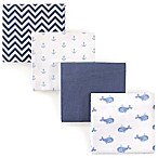 Hudson Baby® Whales Flannel 4-Pack Receiving Blanket Set in Blue