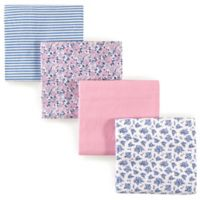 Hudson Baby® Prairie Flowers Flannel 4-Pack Receiving Blanket Set in Blue
