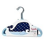 3 Sprouts 10-Pack Whale Flocked Children's Hangers in Blue