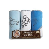 Frenchie Mini Couture 3-Pack Teddy Bear Blue Hooded Towels