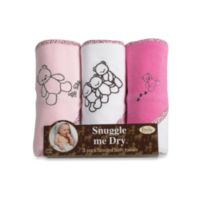 Frenchie Mini Couture 3-Pack Teddy Bear Pink Hooded Towels