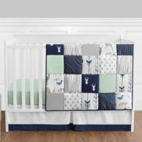Sweet Jojo Designs Woodsy 4-Piece Crib Bedding Set in Navy/Mint
