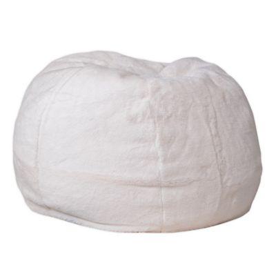 Flash Furniture Kids Small Bean Bag Chair In Furry White