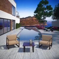 Modway Fortuna Outdoor 3-Piece Patio Conversation Set in Mocha/Brown