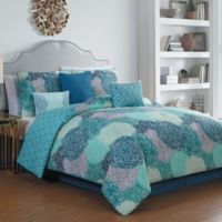 Artesia Giselle Reversible 7-Piece King Comforter Set in Teal
