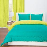 Crayola Reversible Solid 3-Piece Full/Queen Comforter Set in Blue Green/Granny Smith Apple