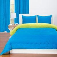 Crayola® Reversible Solid 3-Piece Full/Queen Comforter Set in Cerulean/Granny Smith Apple