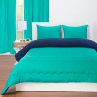 Crayola® Reversible Solid 3-Piece Full/Queen Comforter Set in Blue Green/Navy Blue