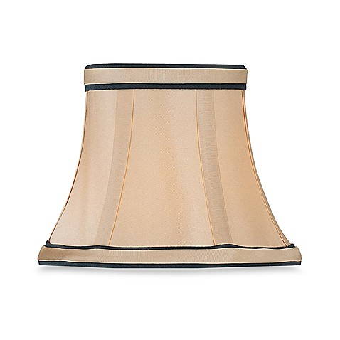 Empire Sateen Chandelier Shade in Light Gold with Black Piping