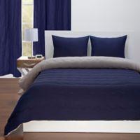 Crayola® Reversible Solid 2-Piece Twin Comforter Set in Navy Blue/Timberwolf Grey