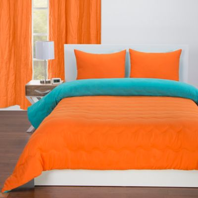Crayola® Reversible Solid 3-Piece Full/Queen Comforter Set in Outrageous  Orange/Turquoise Blue