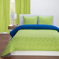 Crayola® Reversible Solid 3-Piece Full/Queen Comforter Set in Spring Green/Blue Berry Blue