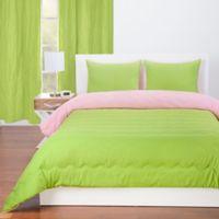 Crayola® Reversible Solid 3-Piece Full/Queen Comforter Set in Spring Green/Tickle Me Pink