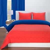 Crayola® Reversible Solid 3-Piece Full/Queen Comforter Set in Sunset Orange/Blue Berry Blue