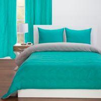 Crayola® Reversible Solid 3-Piece Full/Queen Comforter Set in Blue Green/Timberwolf Grey