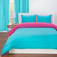 Crayola® Reversible Solid 3-Piece Full/Queen Comforter Set in Turquoise Blue/Hot Magenta