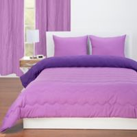 Crayola® Reversible Solid 3-Piece Full/Queen Comforter Set in Vivid Violet/Royal Purple