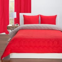Crayola® Reversible Solid 3-Piece Full/Queen Comforter Set in Scarlet Red/Timberwolf Grey