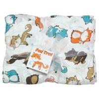 Best Bottom Blanket Fox Trot Swaddle Blanket in Orange/Blue