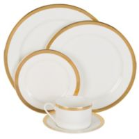 Nevaeh White® by Fitz and Floyd® Grand Rim Wide Band Gold 5-Piece Place Setting
