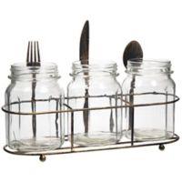 Home Essentials & Beyond 4-Piece Mason Jar Flatware Caddy in Antique Bronze