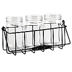 Home Essentials & Beyond 4-Piece Mason Jar Flatware Caddy in Black